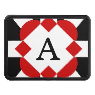 Svart rött och geometrisk vit dragkroksskydd