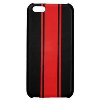 Svart & rött tävlings- fodral för randiPhone 5 iPhone 5C Skal