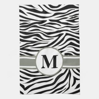 Svart Safarisebra med monogramen Kökshandduk