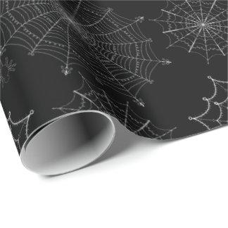 Svart Samhain för spindelnätHalloween spöklik Presentpapper