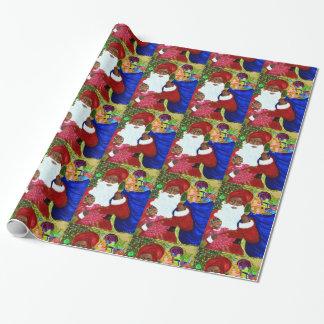 Svart Santa glansigt slående in papper - julsjal Presentpapper