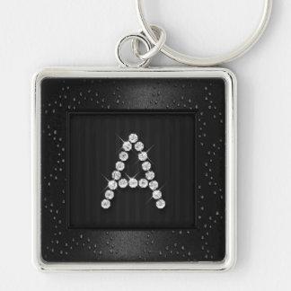 Svart Shimmer och gnistra med monogramen Fyrkantig Silverfärgad Nyckelring