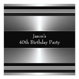 Svart silver bemannar den 40th födelsedagsfesten inbjudan
