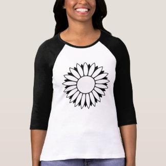 Svart skjorta för sleeve T för vitdaisyflower Tröja