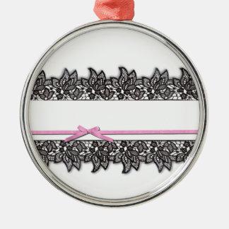 Svart snöre- och rosaband julgransprydnad metall