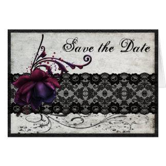 Svart snörebröllop spara datum OBS kort