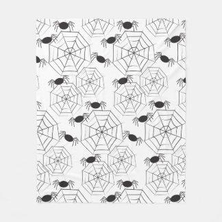 Svart spindelnät och spindelmönster Halloween Fleecefilt