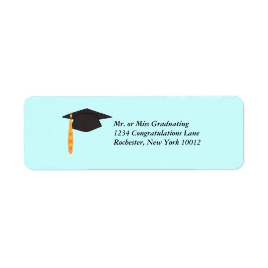 Svart studentmössastudentenadressetiketter returadress etikett