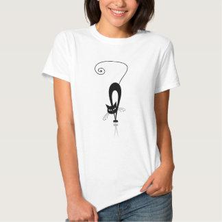 Svart Stylized kattT-tröja T-shirts