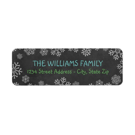 Svart svart tavla för helgdagadressetiketter | returadress etikett