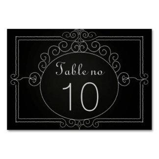 Svart svart tavla för vintage bordsnummer