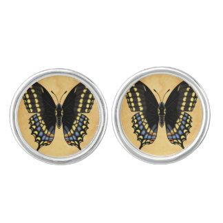 Svart Swallowtail fjäril Cufflinks