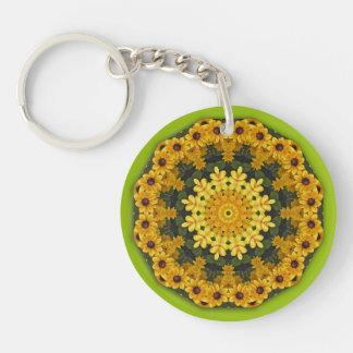 Svart-synade Susans, blom- mandala-stil Dubbelsidigt Rund Akryl Nyckelring