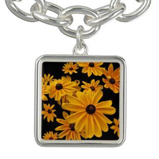 Svart-synat armband för berlock för Susan blommor