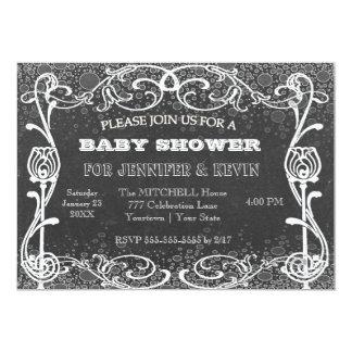 Svart tavla för baby shower med kritaglitter 12,7 x 17,8 cm inbjudningskort