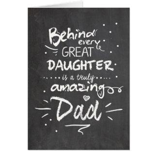 Svart tavla för dotter för fars hälsningskort
