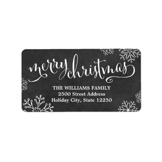 Svart tavla för god jul för returetiketter | adressetikett