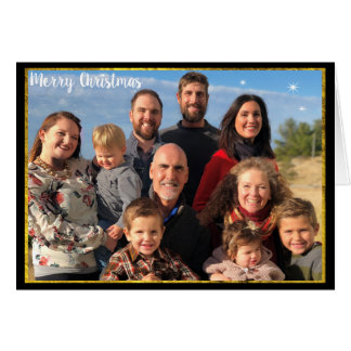 Svart tavla för guld för brev för familjfotojul hälsningskort