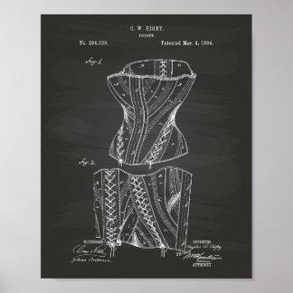 Svart tavla för konst för korsett 1884 patenterad poster
