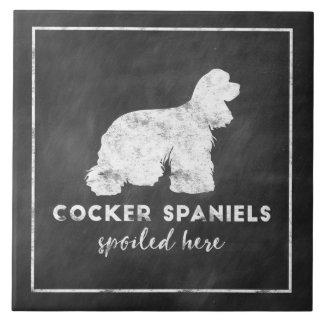 Svart tavla för vintage för cockerspanielSpaniels Kakelplatta