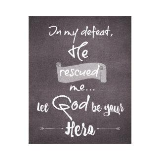 Svart tavla: Guden räddade mig: Canvastryck