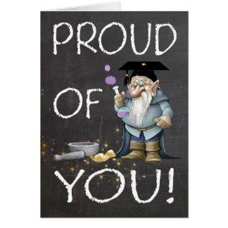 Svart tavla som är stolt av dig studenten med Gnom Hälsningskort