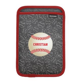 Svart tavlabaseballmönster med namn och baseball sleeve för iPad mini