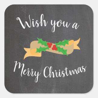 Svart tavlabrev för god jul fyrkantigt klistermärke