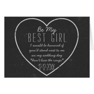 Svart tavlahjärta är mitt bäst flickaförfrågankort hälsningskort
