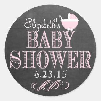 Svart tavlaLook för vintage - rosa baby shower Runt Klistermärke