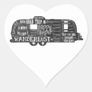 Svart tavlasläp hjärtformat klistermärke
