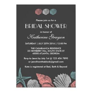 Svart tavlasnäckskalinbjudan för strandbröllop 12,7 x 17,8 cm inbjudningskort