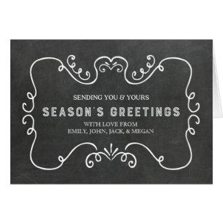 Svart tavlavintagesäsong jul för hälsningar hälsningskort
