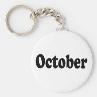Svart text Oktober Nyckelringar