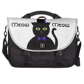 Svart TopHat kattBlueBow messenger bag Laptop Computer Bag