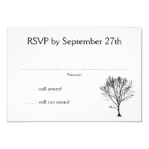 Svart trädSilhouetteOSA kort 8,9 X 12,7 Cm Inbjudningskort