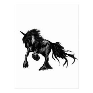 Svart unicorn vykort