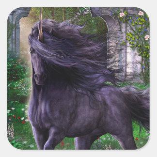 Svart Unicornklistermärke Fyrkantigt Klistermärke