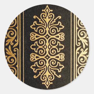 Svart utföra i relief mönster för läder guld runt klistermärke