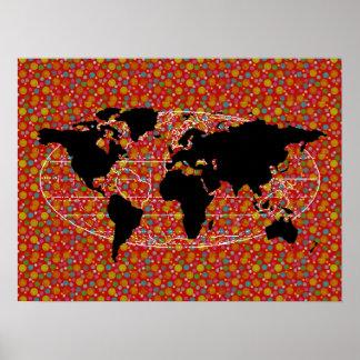 svart världskartapolka dots poster