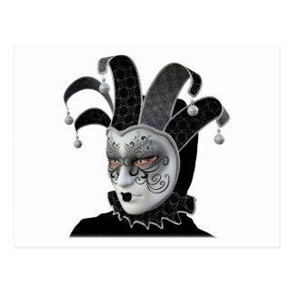 Svart Venetian Carnivale maskerar profilerar in Vykort
