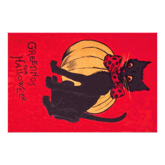 Svart vintage för kattBowtie pumpa Fototryck