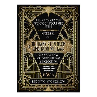 Svart vintage & guld- art déco som gifta sig 12,7 x 17,8 cm inbjudningskort