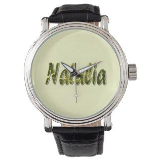 Svart vintageläder fäster klockan för Natalia Armbandsur
