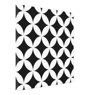 Svart vit cirklar och diamantabstraktmönster canvastryck