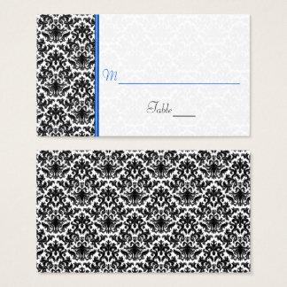 Svart vit, för bröllopställe för blått damastast visitkort