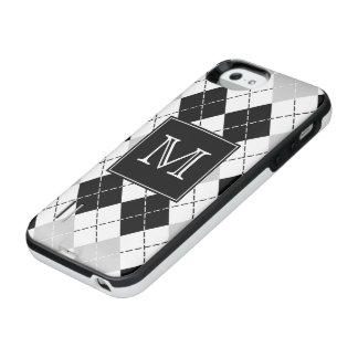 Svart vit för Monogram och gråa Argyle iPhone SE/5/5s Batteri Skal