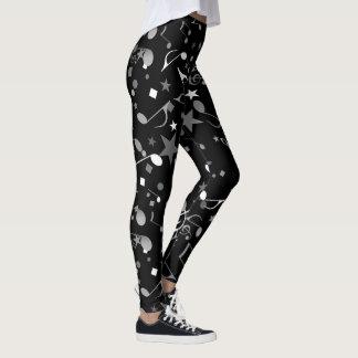 Svart-/vit-/grå färgmusik noter på svart damasker leggings