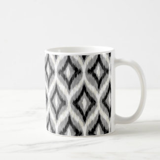 Svart vit och grått Ikat geometriskt mönster Vit Mugg