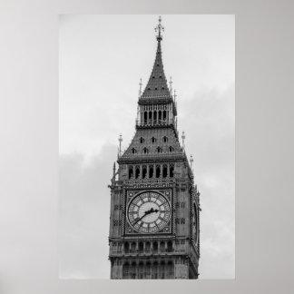 Svart vit upp stora Ben tar tid på tätt torn Poster